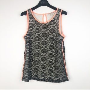 Banana Republic Lace Tank with Neon Piping